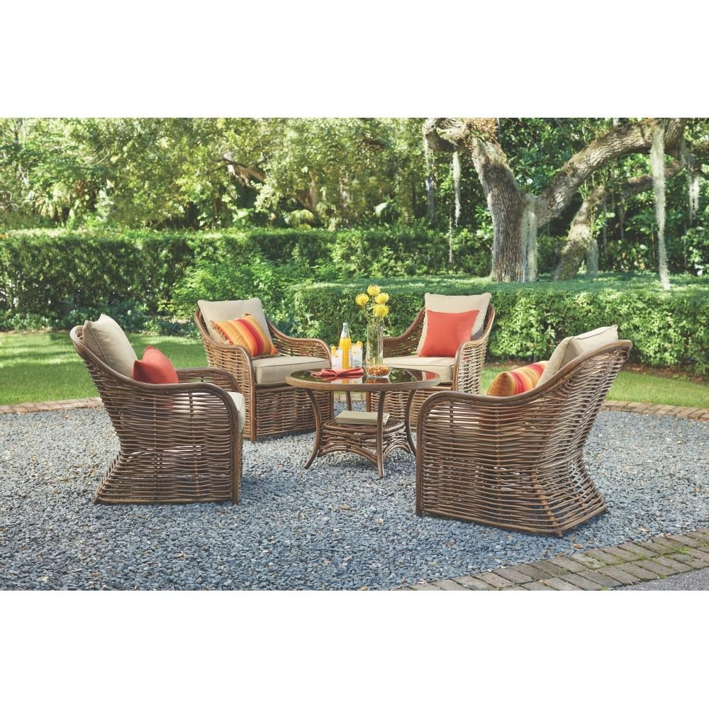Metal Patio Conversation Sets Throughout Most Recently Released Home Decorators Collection Port Elizabeth 5 Piece All Weathered (View 7 of 15)
