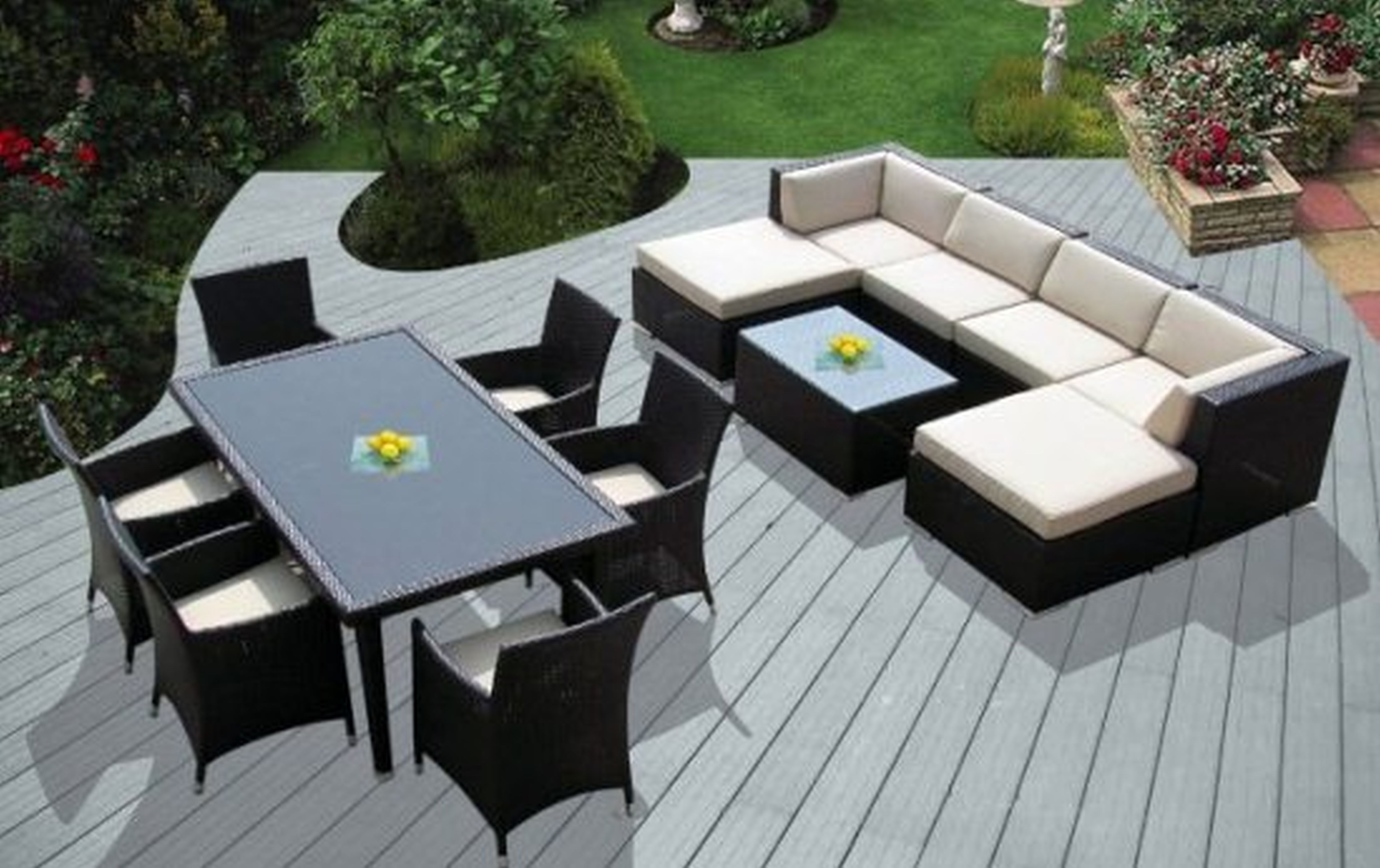 Modern Patio Conversation Sets Throughout Newest Chair : Top Outdoor Patio Furniture Sectional And Wicker Deep Seat (View 7 of 15)