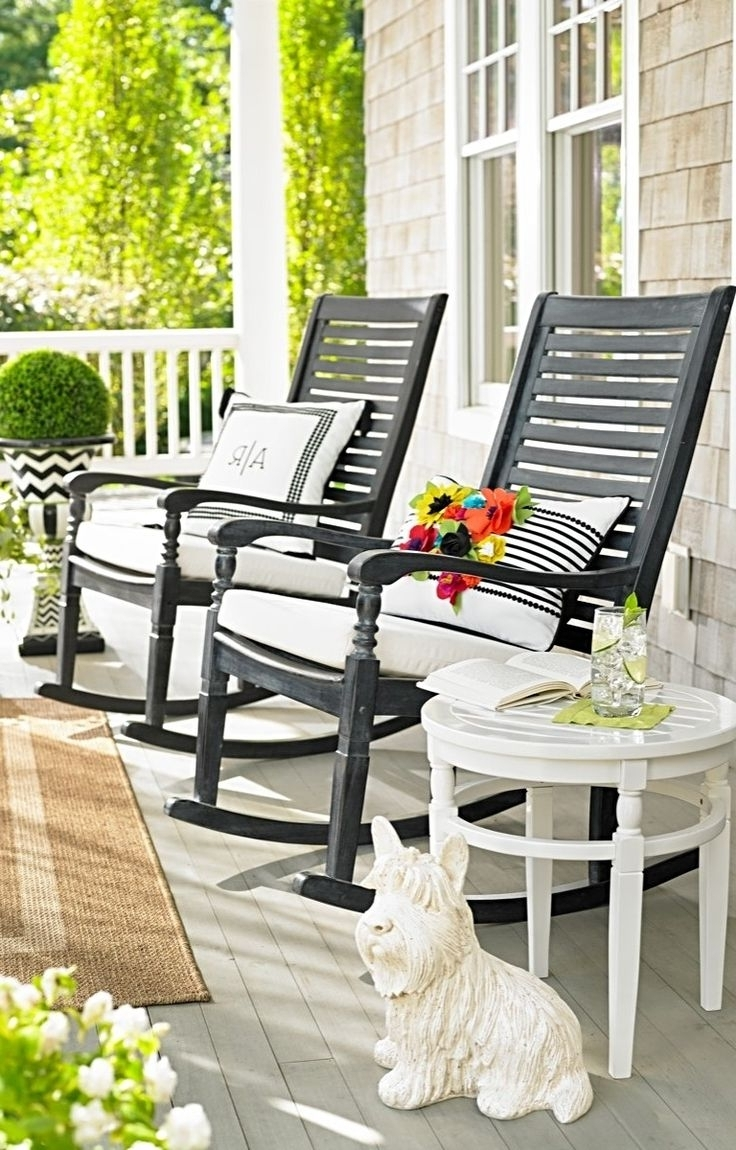 Modern Patio Rocking Chairs With Recent Uncategorized : Wooden Porch Rocking Chairs In Lovely Outdoor White (View 9 of 15)