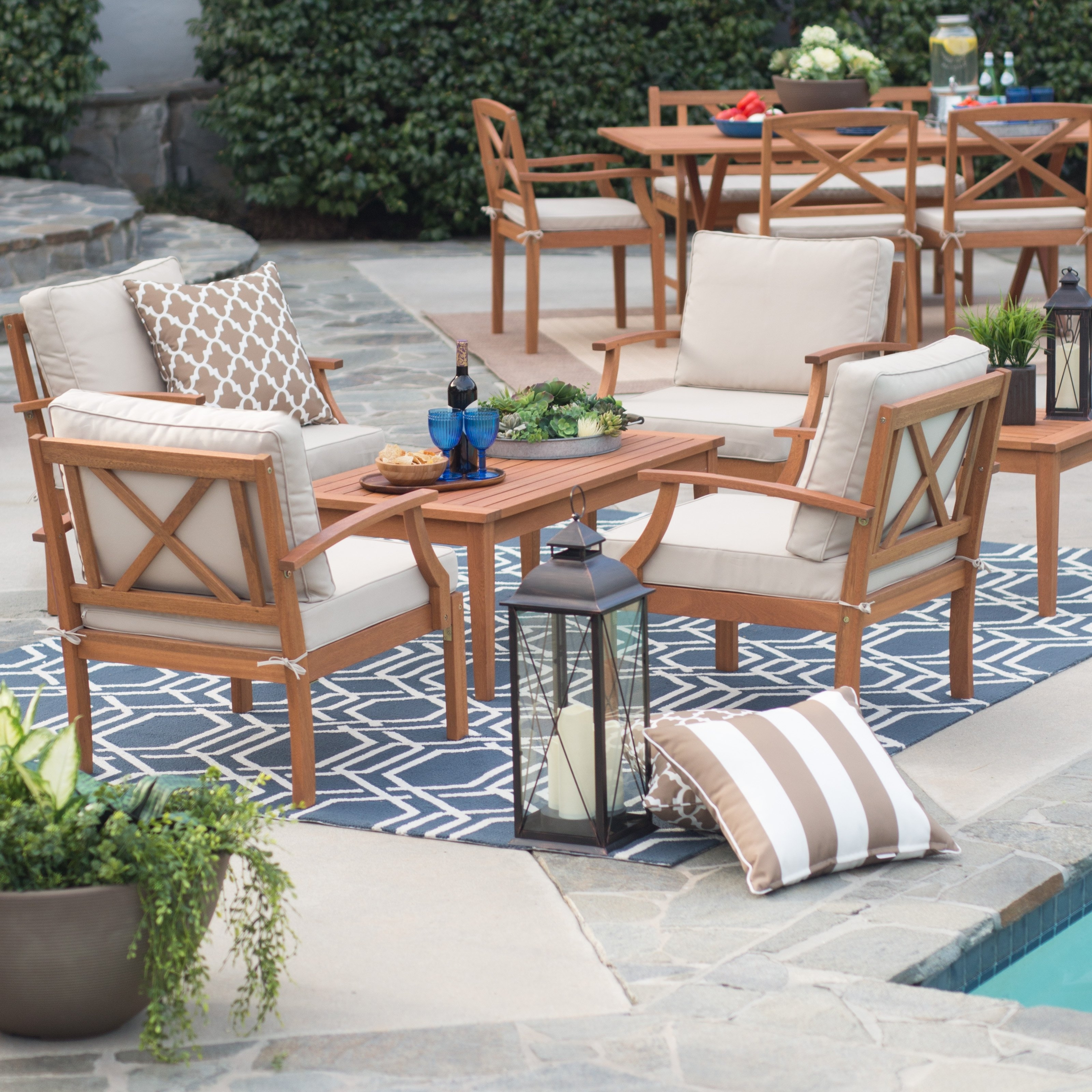 Most Current Belham Living Brighton Outdoor Wood Deep Seating Conversation Set Within Deep Seating Patio Conversation Sets (View 8 of 15)