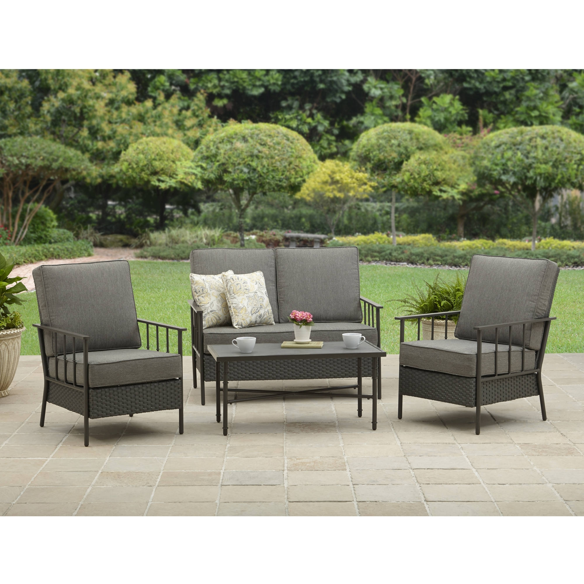 Most Current Better Homes And Garden Fairwater 4 Piece Outdoor Conversation Set Within Walmart Patio Furniture Conversation Sets (View 2 of 15)