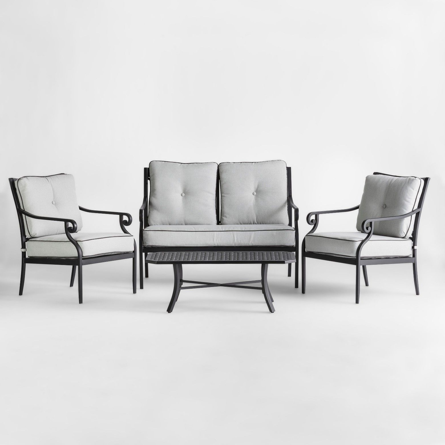 Most Current Black Aluminum Patio Conversation Sets With Regard To Chester 4Pc Aluminum Patio Conversation Set – Threshold (View 10 of 15)