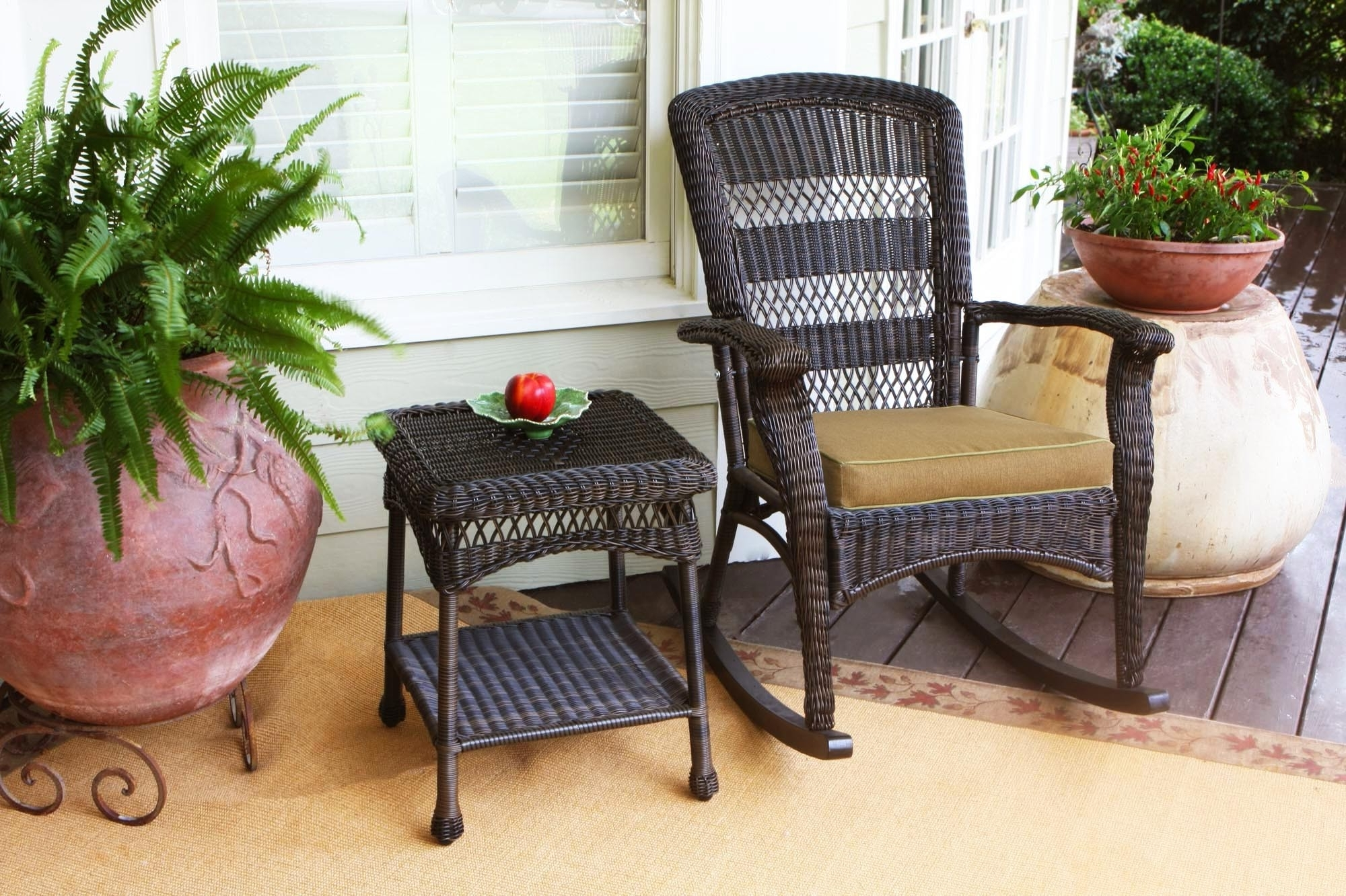 Most Current Brown Wicker Patio Rocking Chairs Within Furniture: Tortuga Outdoor Portside Rocking Chair In Dark Roast (View 7 of 15)
