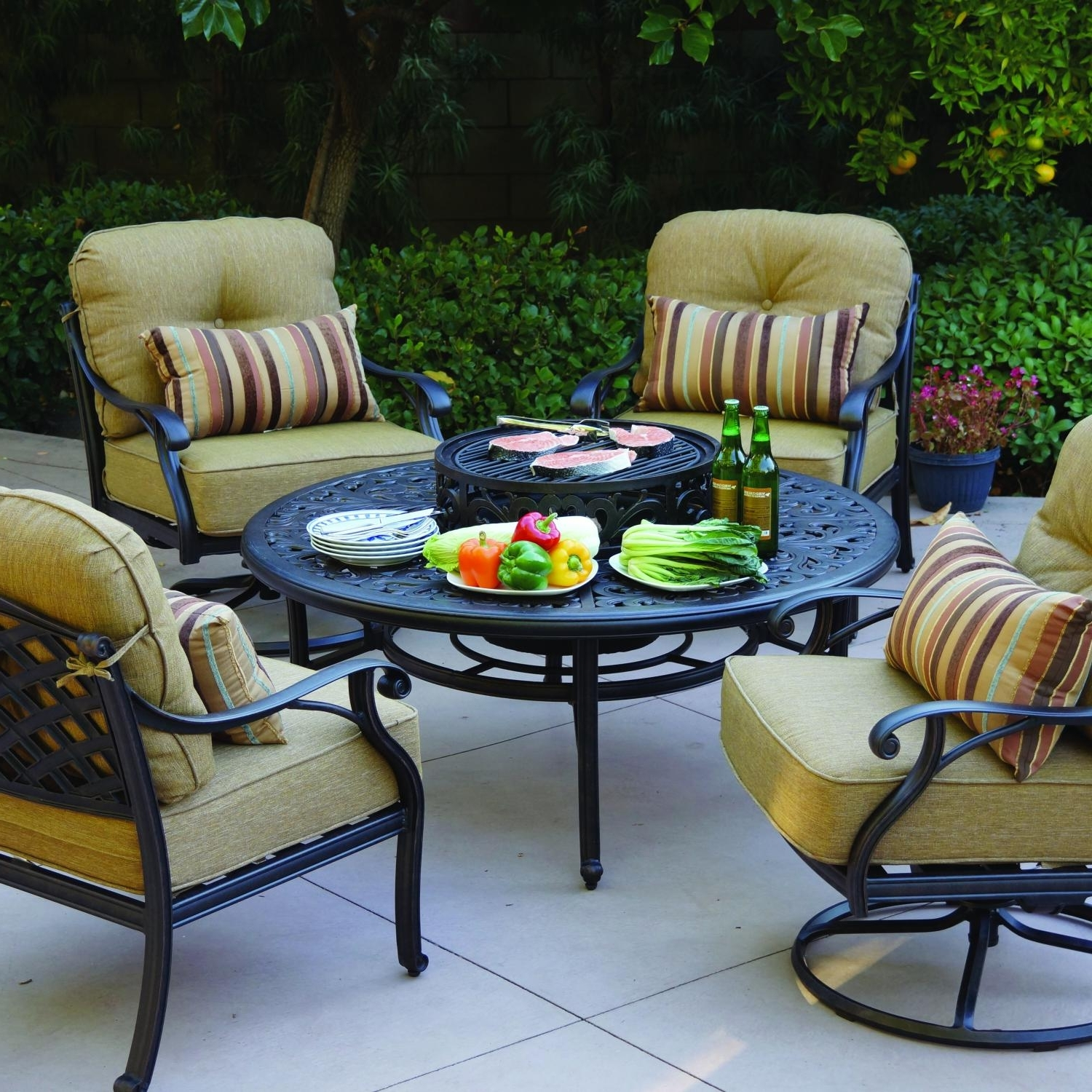 Most Current Darlee Nassau 5 Piece Patio Fire Pit Conversation Seating Set Regarding Patio Conversation Sets With Swivel Chairs (View 7 of 15)