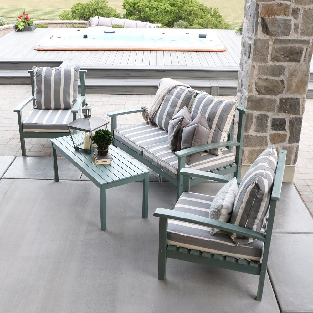 Most Current Grey Patio Conversation Sets Pertaining To Walker Edison Furniture Company Ocean Grey Acacia Wood 4 Piece Patio (View 9 of 15)