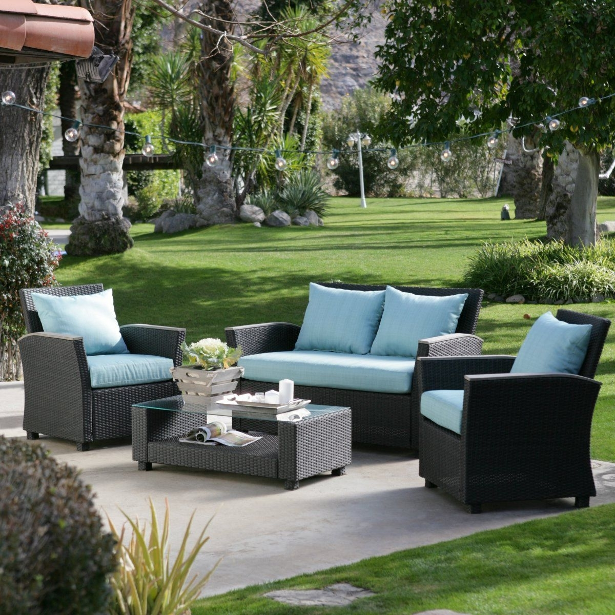 Most Current Hayneedle Patio Conversation Sets With $1300 Delphi All Weather Chocolate Wicker Conversation Set – Outdoor (View 15 of 15)