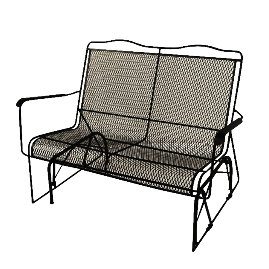 Most Current Iron Rocking Patio Chairs For Shop Davenport Wrought Iron Rocking Chair With Mesh Seat At Lowes (View 6 of 15)