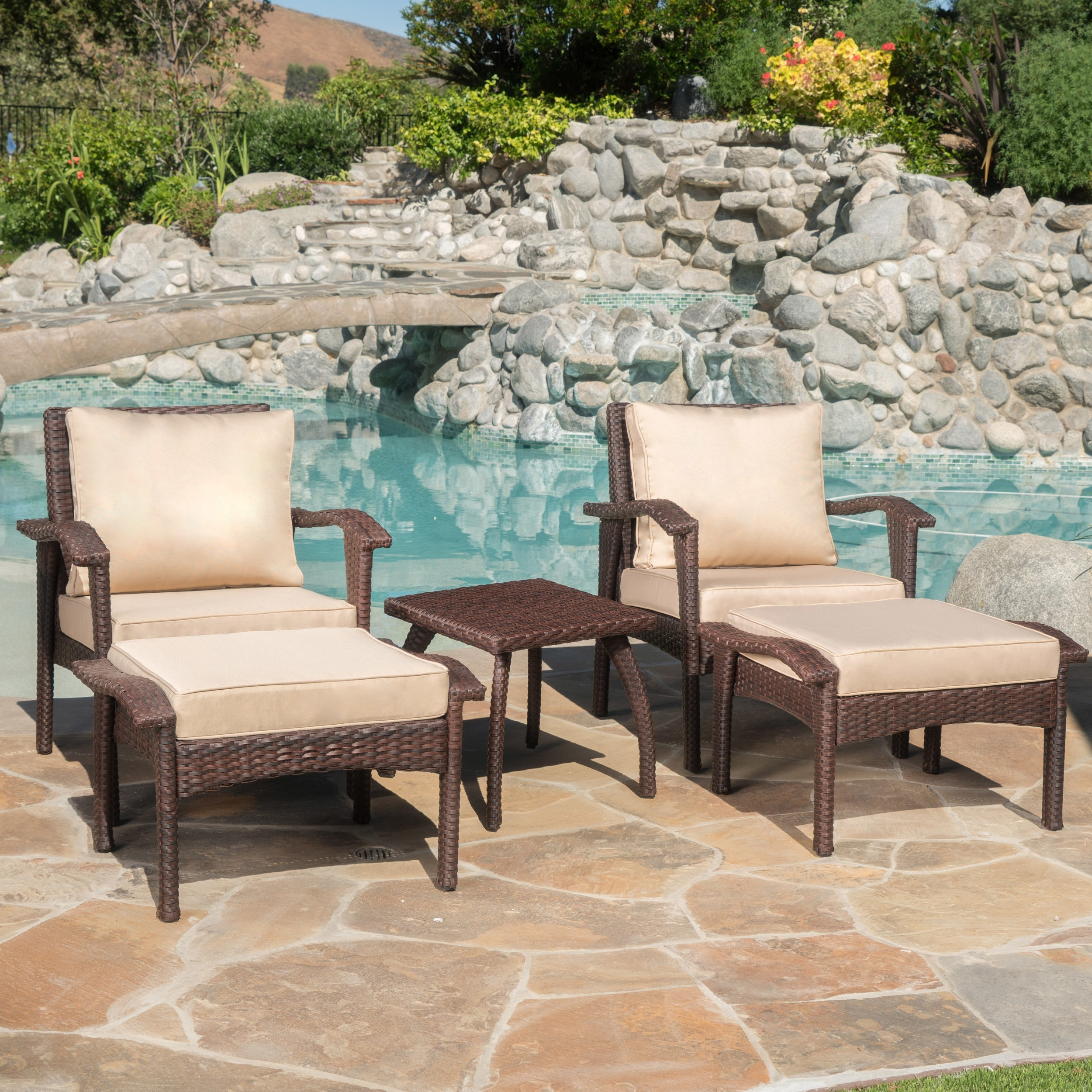Most Current Patio Conversation Sets With Cushions Regarding Alcott Hill Springboro 5 Piece Conversation Set With Cushions (View 7 of 15)