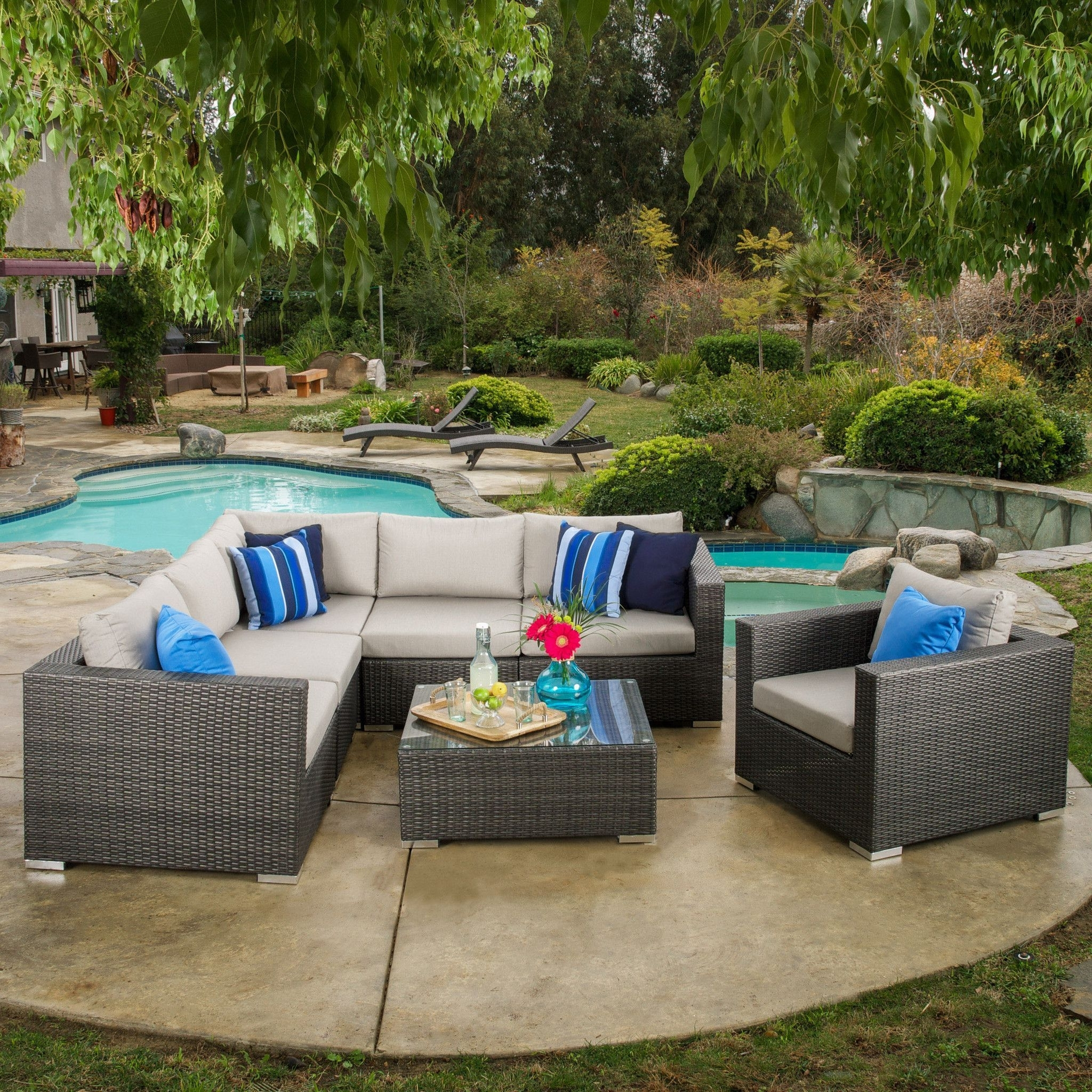 Most Current Patio Conversation Sets With Sunbrella Cushions For Francisco Outdoor 7 Piece Grey Wicker Seating Sectional Set With (View 12 of 15)