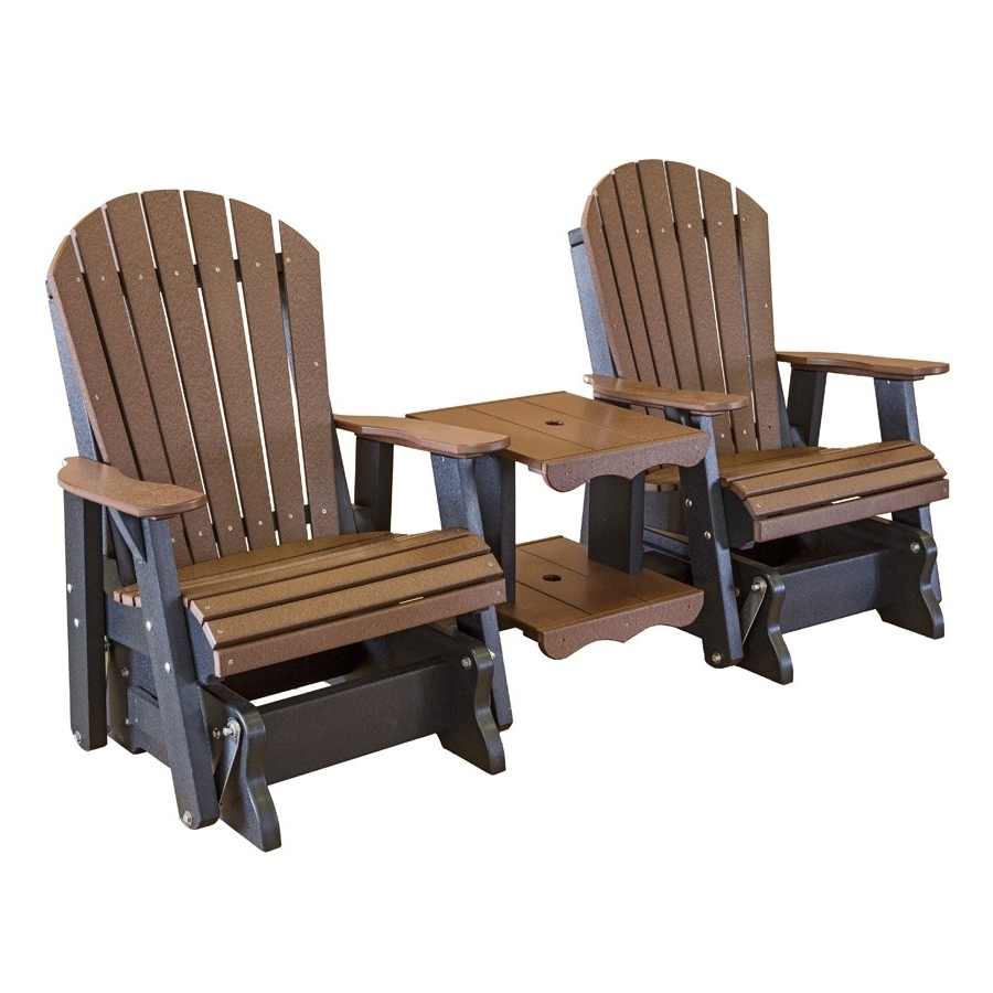 Most Current Patio Rocking Chairs And Gliders Pertaining To Amish Heritage Poly Double Glider Settee (View 6 of 15)