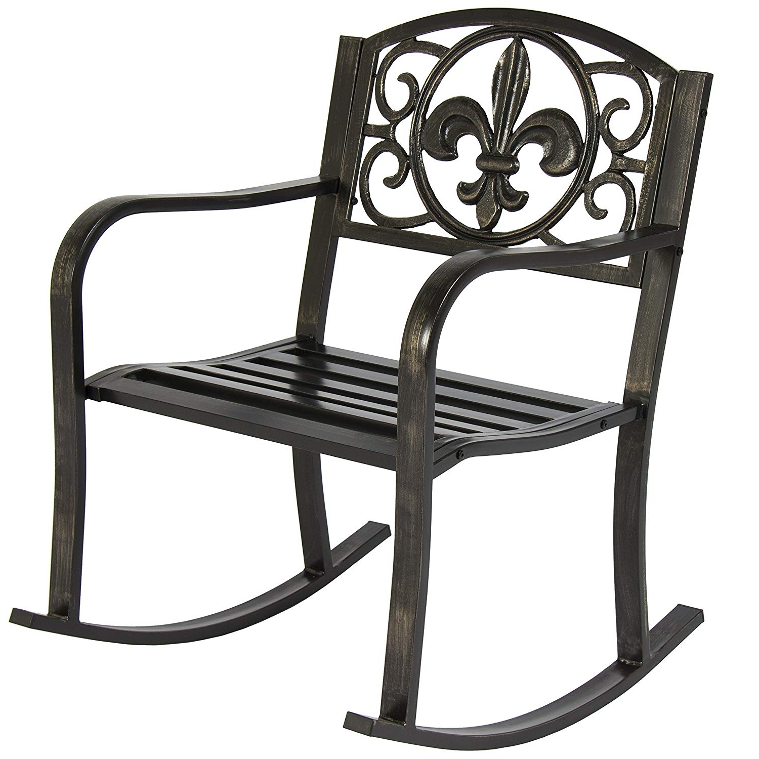 Most Current Patio Rocking Chairs Pertaining To Amazon : Best Choice Products Metal Rocking Chair Seat For Patio (View 3 of 15)