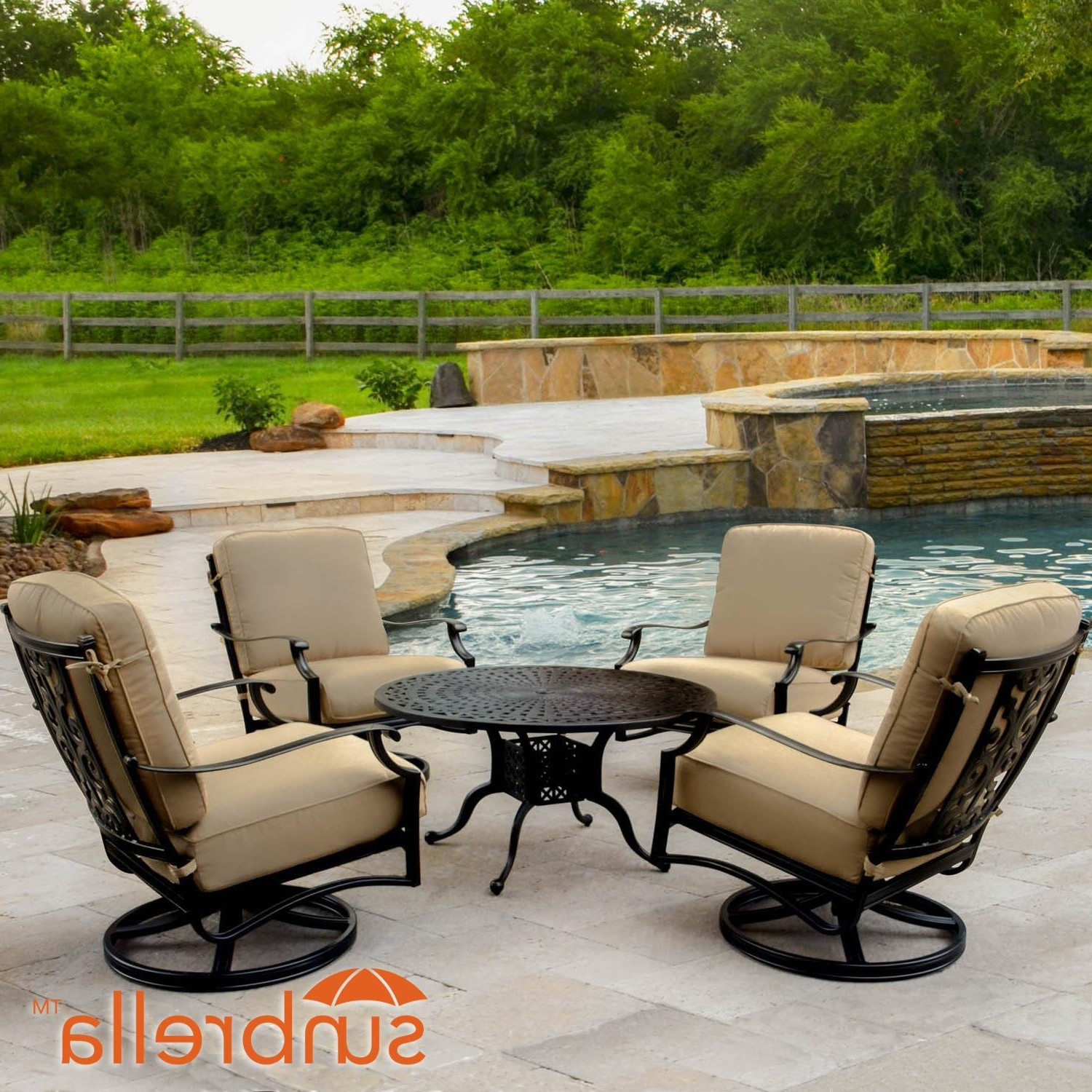 Most Current Round Patio Conversation Sets Pertaining To Bocage 5 Piece Cast Aluminum Patio Conversation Set W/ Round Coffee (View 3 of 15)