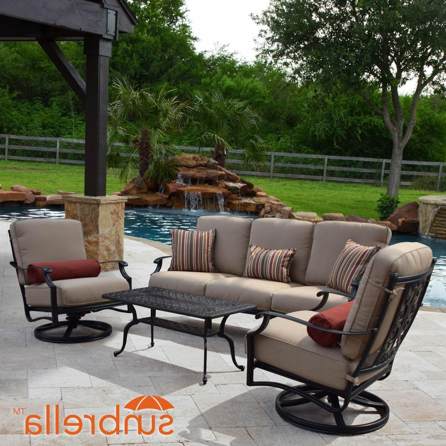 Most Current Sunbrella Patio Conversation Sets Throughout Bocage 4 Piece Cast Aluminum Patio Conversation Set W/ Sofa, Swivel (View 12 of 15)