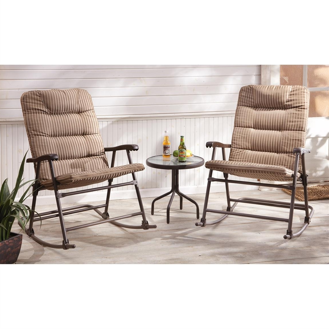 Most Popular Castlecreek Padded Outdoor Rocking Chair Set Piece Setup Patio Inside Patio Rocking Chairs Sets (View 14 of 15)