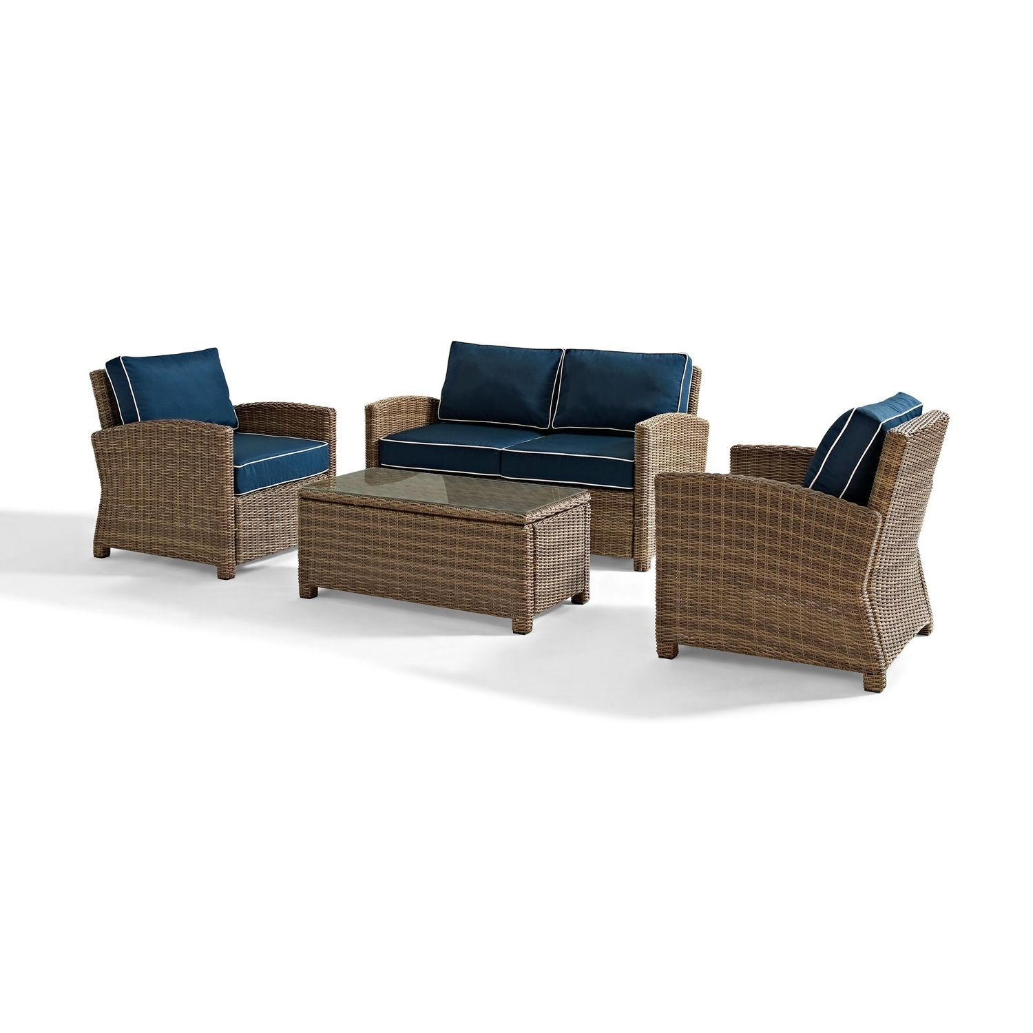 Most Popular Crosley Furniture Bradenton 4 Piece Outdoor Wicker Seating Set With For Wicker 4Pc Patio Conversation Sets With Navy Cushions (View 13 of 15)
