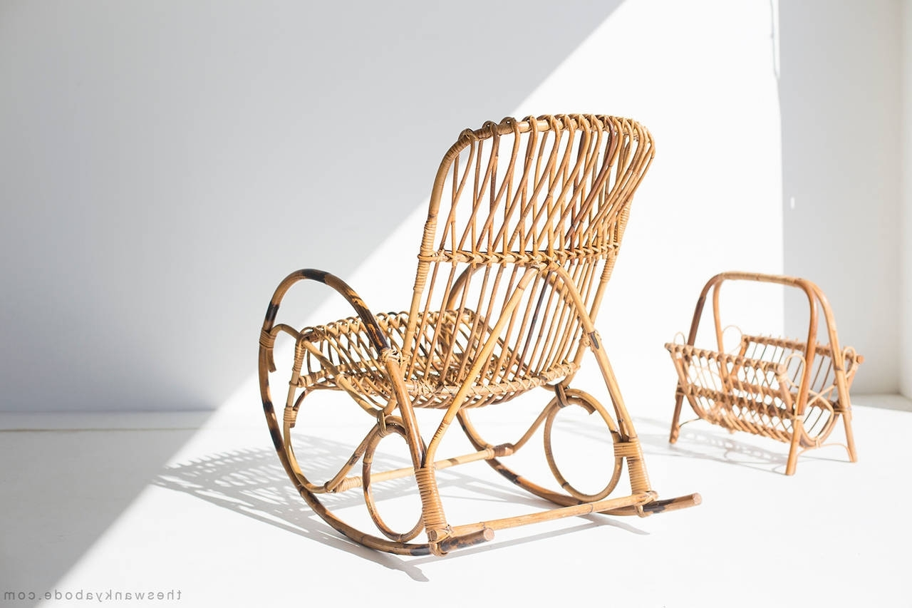 Most Popular Franco Albini Style Wicker Rocking Chair And Magazine Rack In Wicker Rocking Chair With Magazine Holder (View 4 of 15)