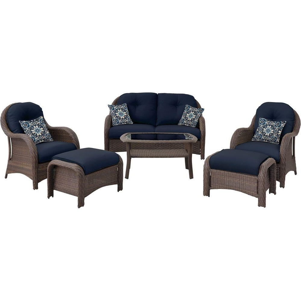 Most Popular Hanover Newport 6 Piece All Weather Wicker Woven Patio Seating Set With Regard To Wicker 4Pc Patio Conversation Sets With Navy Cushions (View 3 of 15)