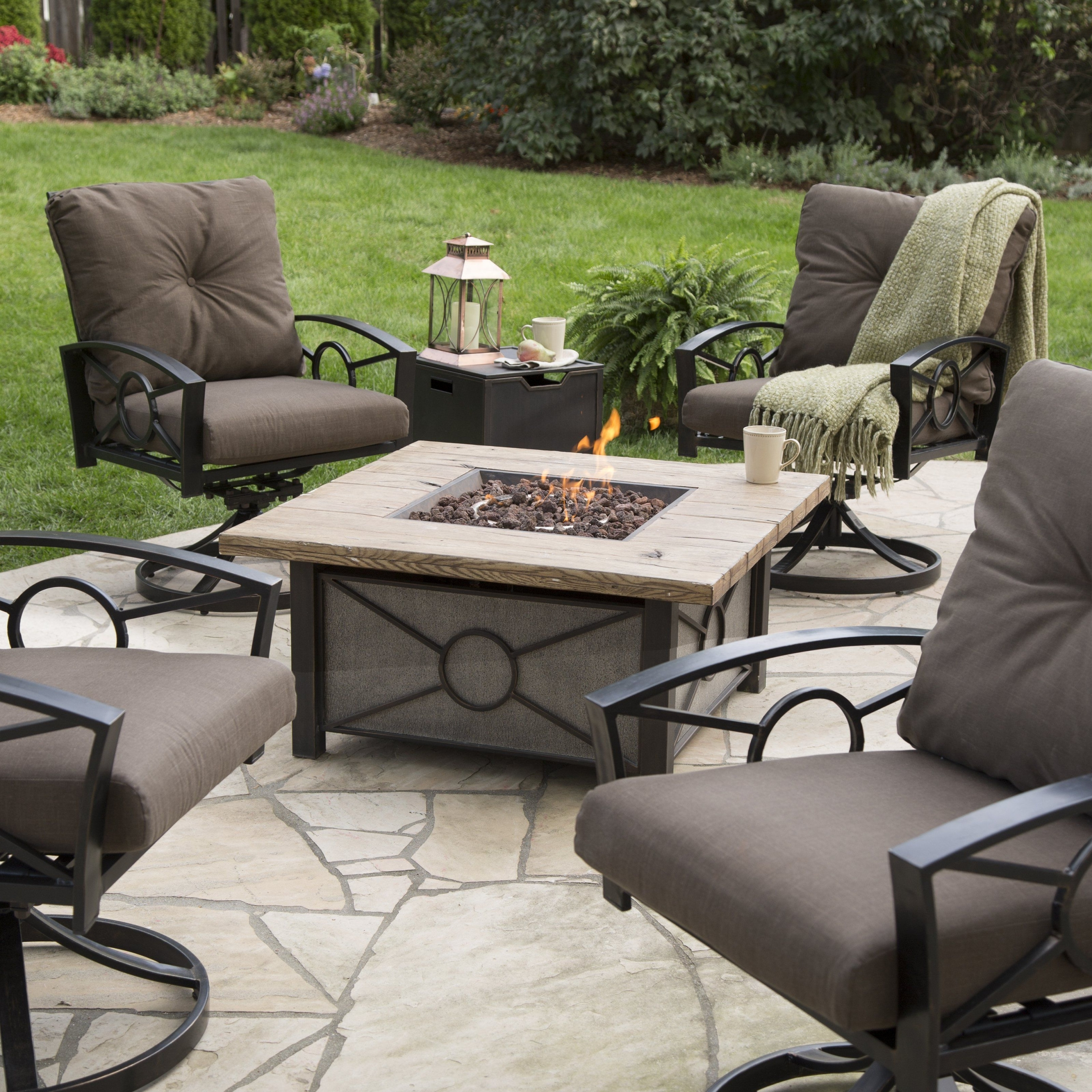 Most Popular Hayneedle Patio Conversation Sets Intended For Valuable Gas Fire Pit Conversation Set Red Ember Dillon Table Chat (View 9 of 15)