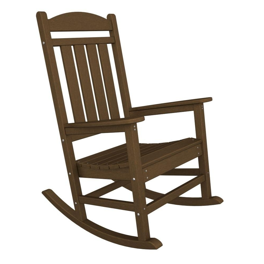 Most Popular Polywood Presidential Teak Patio Rocker R100Te – The Home Depot Intended For Brown Patio Rocking Chairs (View 12 of 15)