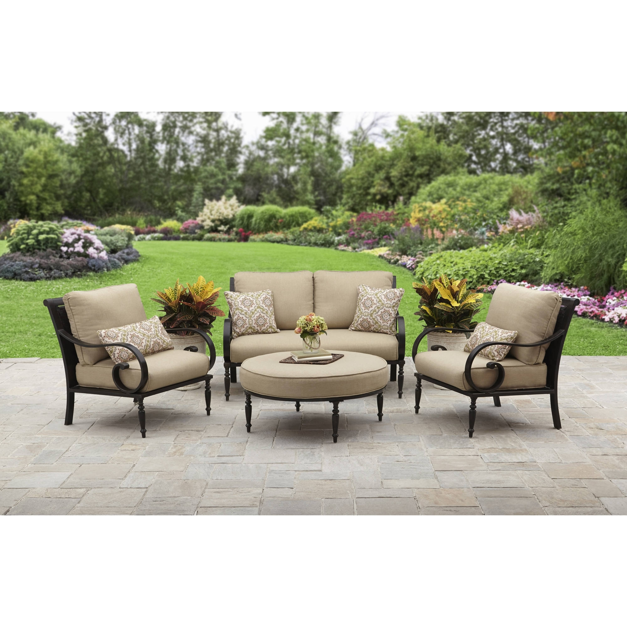 Most Popular Red Patio Conversation Sets Pertaining To Better Homes And Gardens Englewood Heights Ii Aluminum 4 Piece (View 6 of 15)
