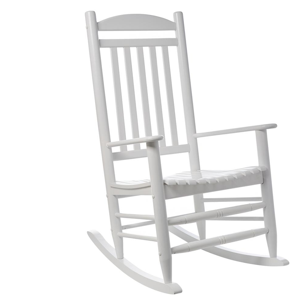 Most Popular Rocking Chairs At Home Depot In Hampton Bay White Wood Outdoor Rocking Chair 1. (View 8 of 15)