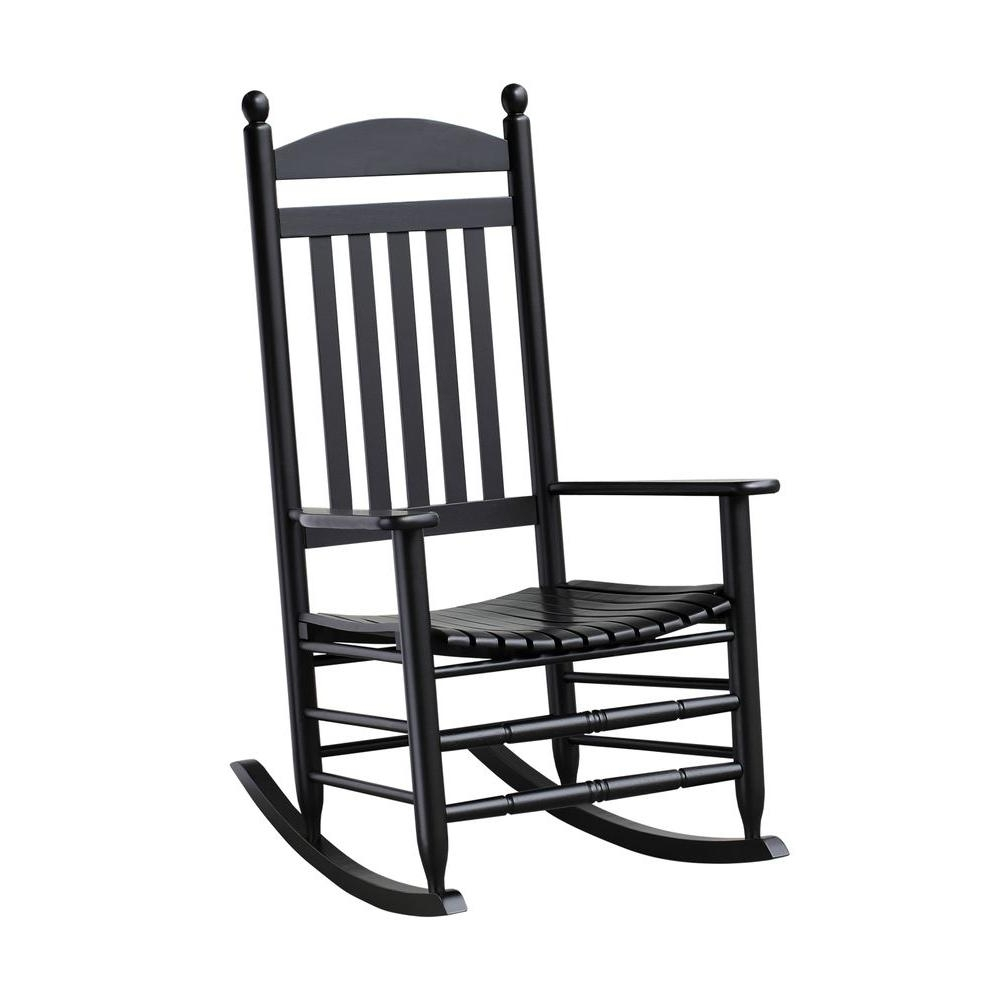 Most Popular Rocking Chairs Regarding Bradley Black Slat Patio Rocking Chair 200Sbf Rta – The Home Depot (View 14 of 15)