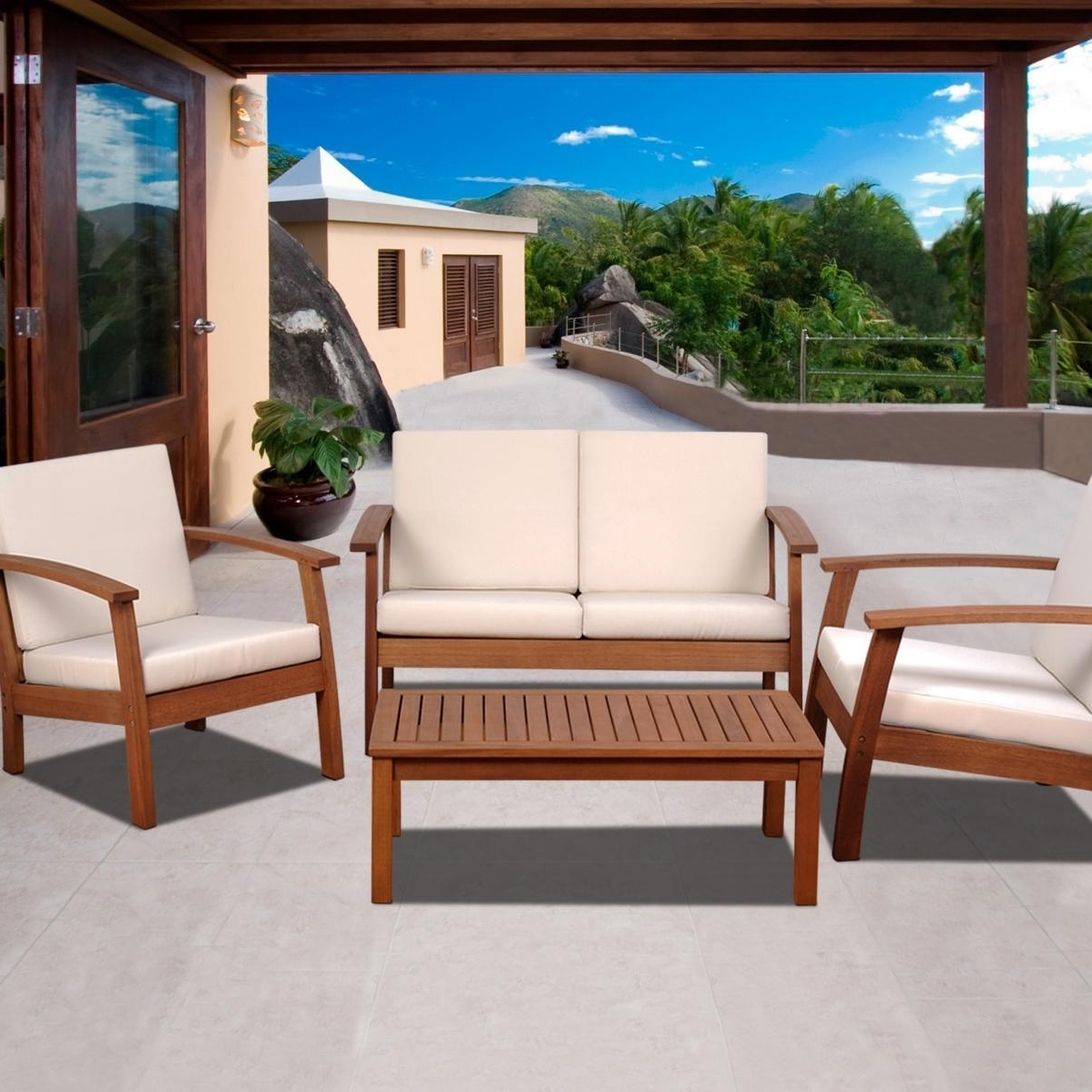 Most Popular Wood Patio Furniture Conversation Sets With Amazonia Murano 4 Person Eucalyptus Patio Conversation Set (View 8 of 15)