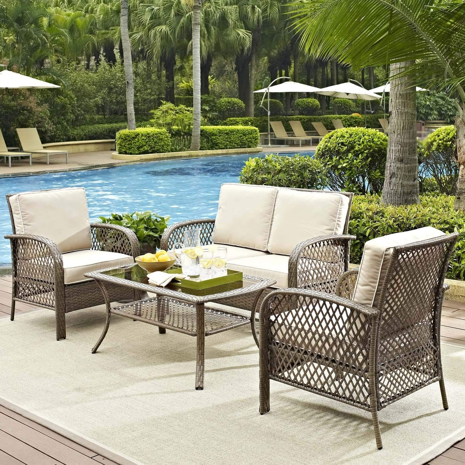 Most Recent Amazon Patio Furniture Conversation Sets Regarding Amazon: Tribeca 4 Piece Deep Seating Group Outdoor Patio (View 11 of 15)