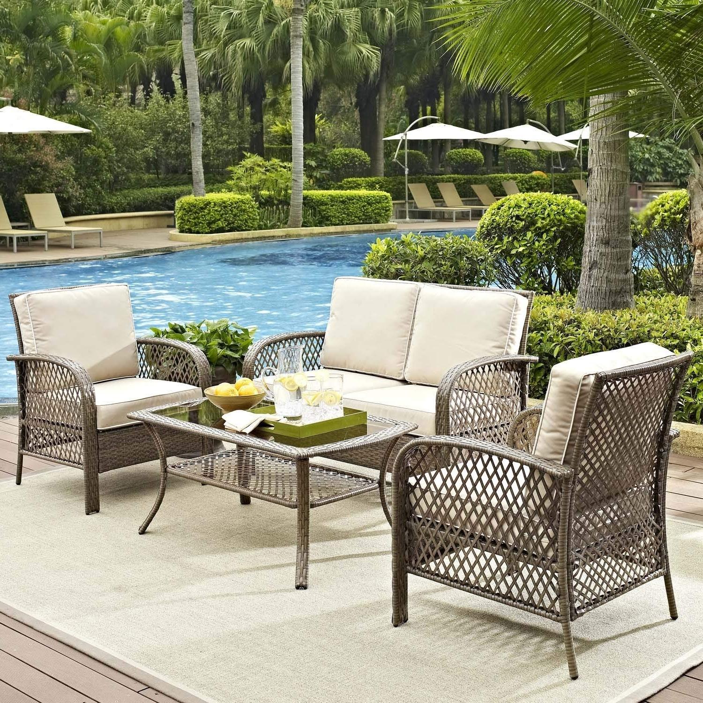 Most Recent Amazon Patio Furniture Conversation Sets Regarding Amazon: Tribeca 4 Piece Deep Seating Group Outdoor Patio (View 8 of 15)