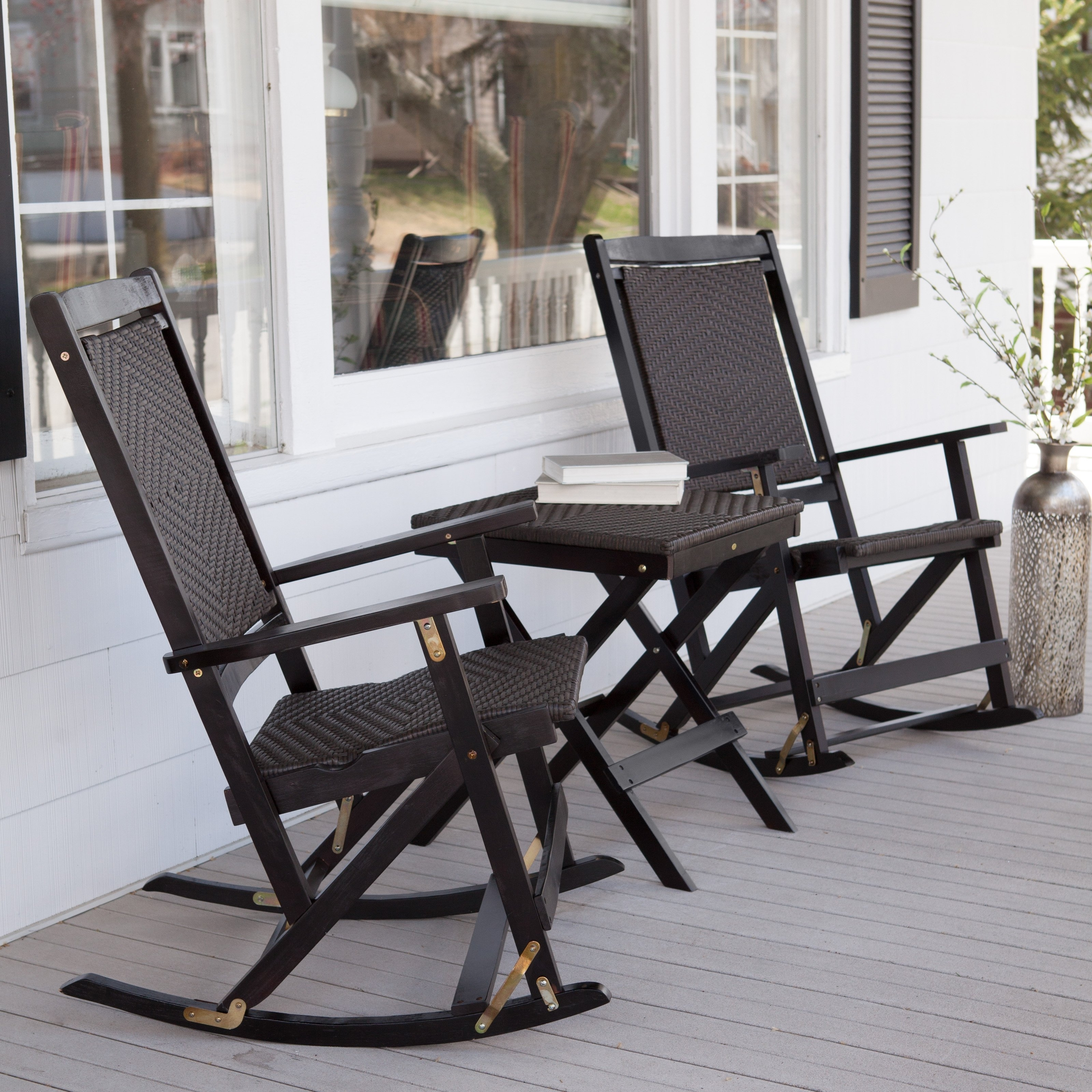 Most Recent Black Patio Rocking Chairs Inside Black Wicker Rocking Chair With Black Stained Wooden Based Combined (View 12 of 15)