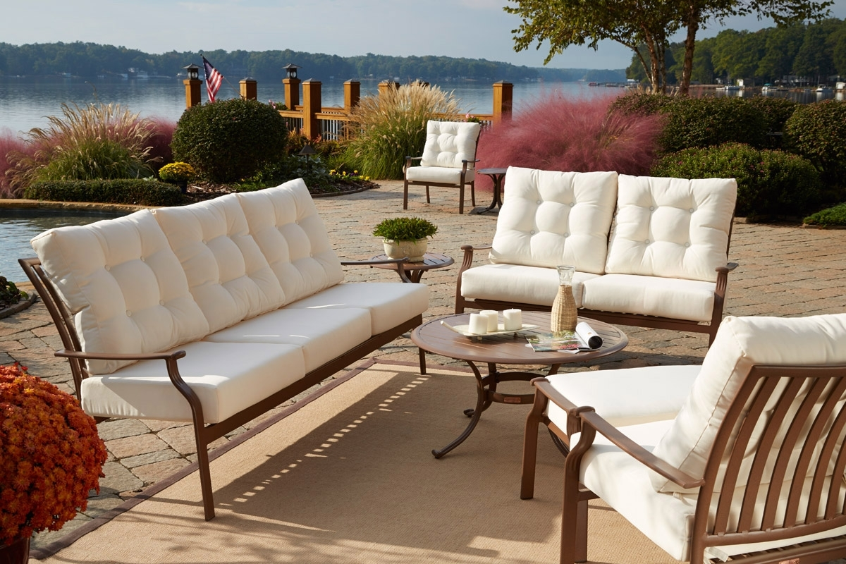 Most Recent Furniture: Nice Black Wrought Iron Patio Furniture With White Intended For Black Aluminum Patio Conversation Sets (View 11 of 15)