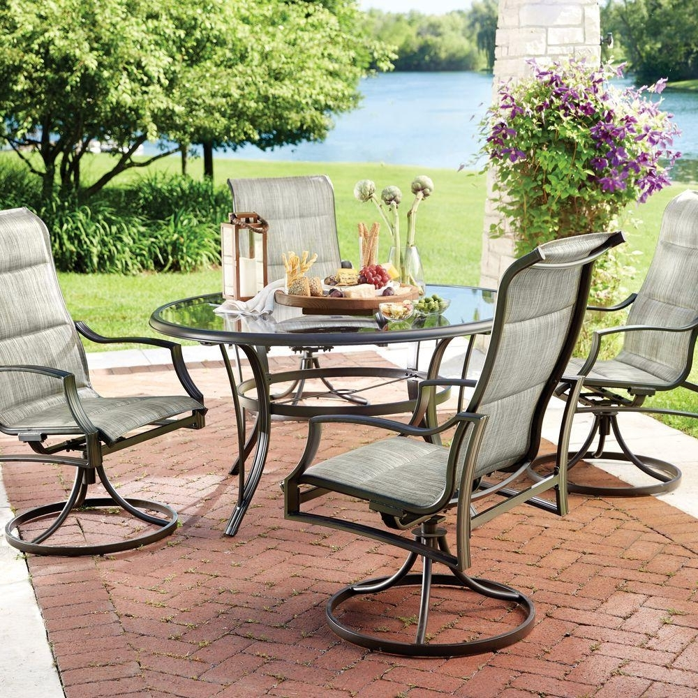 Most Recent Hampton Bay Statesville 5 Piece Padded Sling Patio Dining Set With Throughout Sling Patio Conversation Sets (View 15 of 15)
