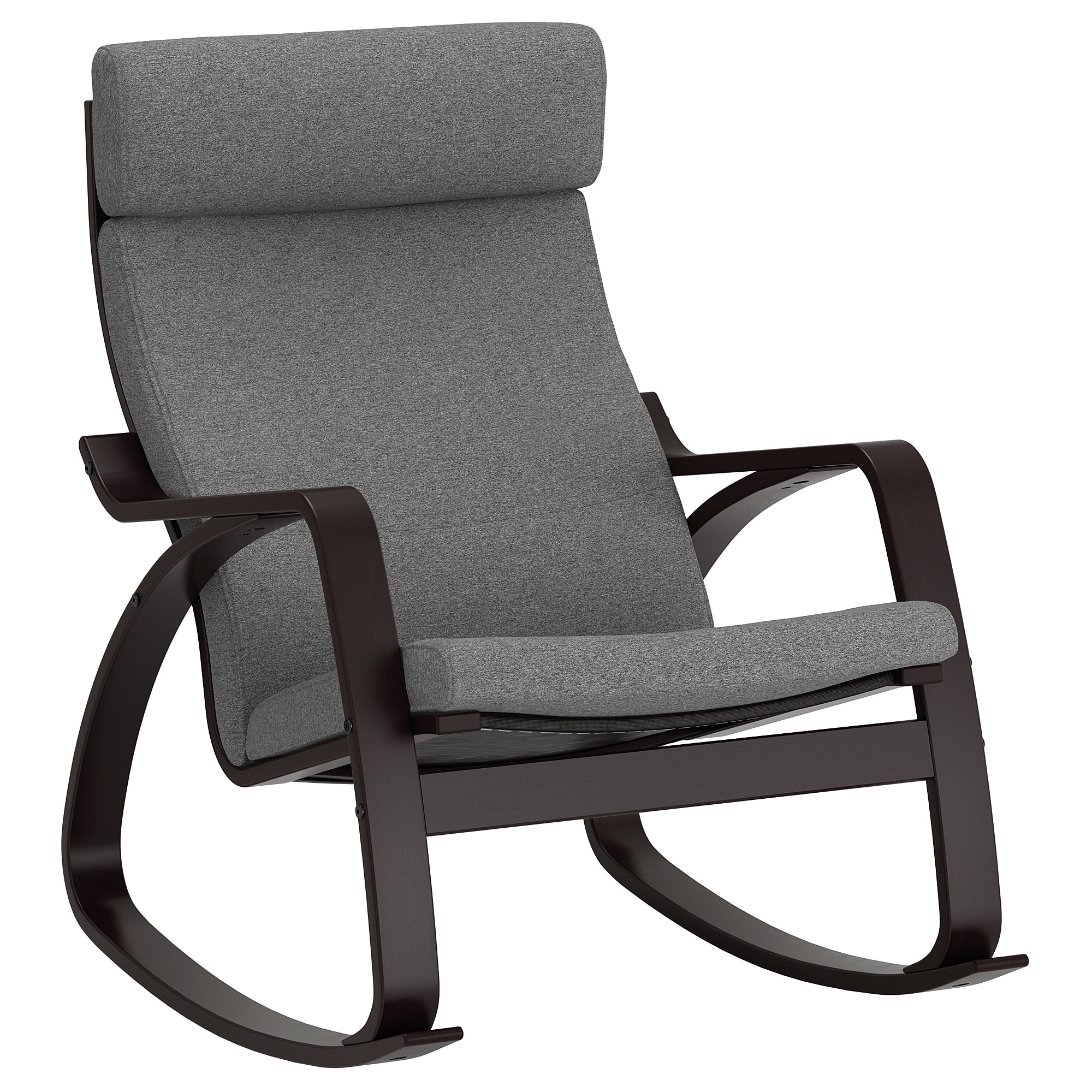 Most Recent Ikea Rocking Chairs Regarding Poäng Rocking Chair Black Brown/lysed Grey – Ikea (View 7 of 15)