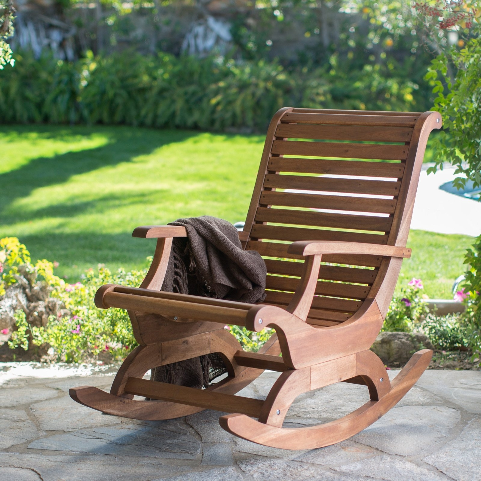 Most Recent Outdoor Rocking Chairs With Regard To Belham Living Avondale Oversized Outdoor Rocking Chair – Natural (View 5 of 15)