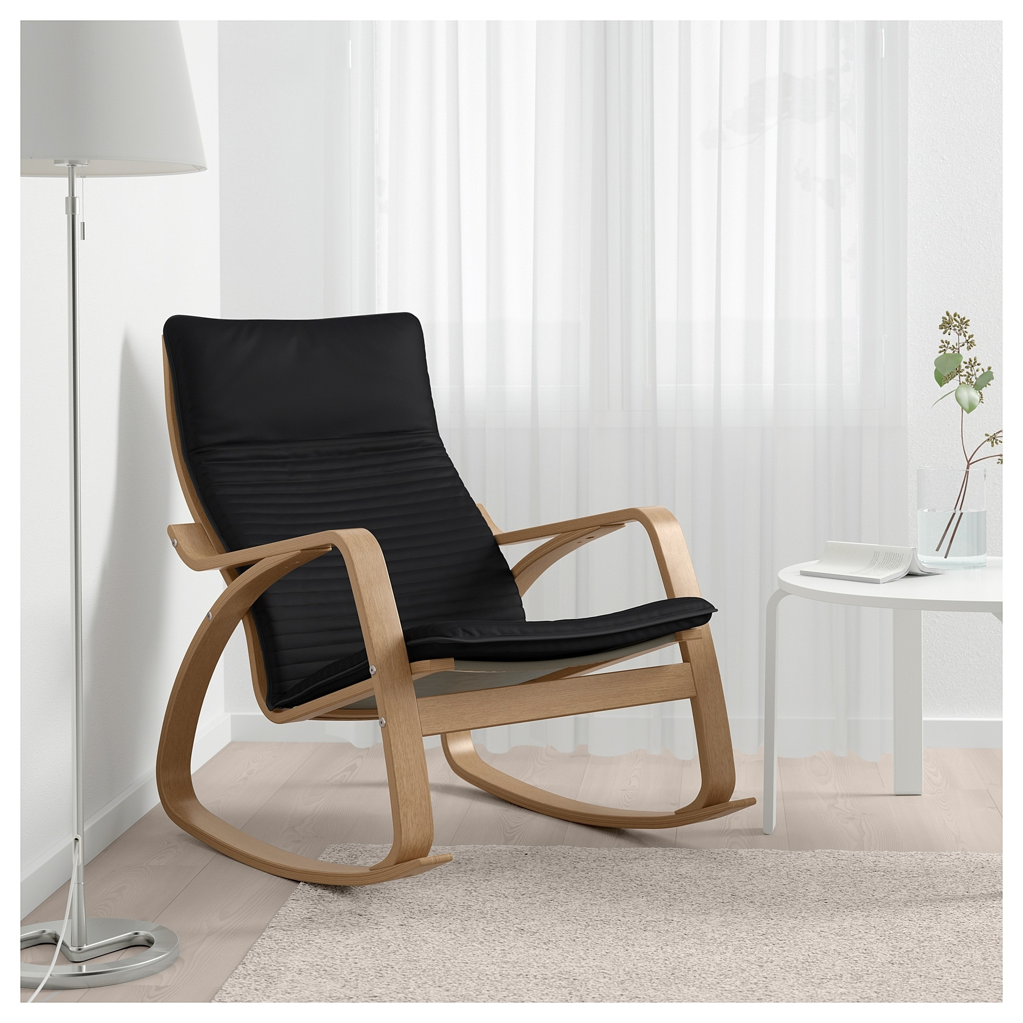Most Recent Poäng Rocking Chair Oak Veneer/knisa Black – Ikea Throughout Ikea Rocking Chairs (View 8 of 15)
