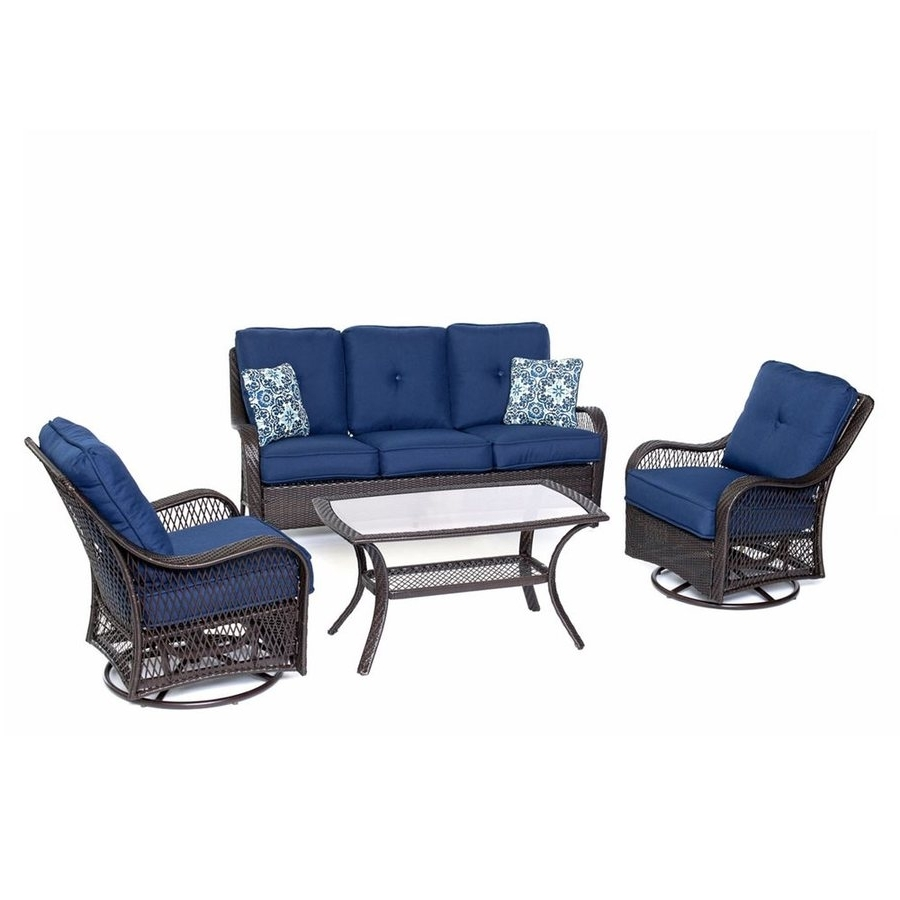Most Recent Shop Hanover Outdoor Furniture Orleans 4 Piece Wicker Frame Patio Regarding Wicker 4Pc Patio Conversation Sets With Navy Cushions (View 8 of 15)