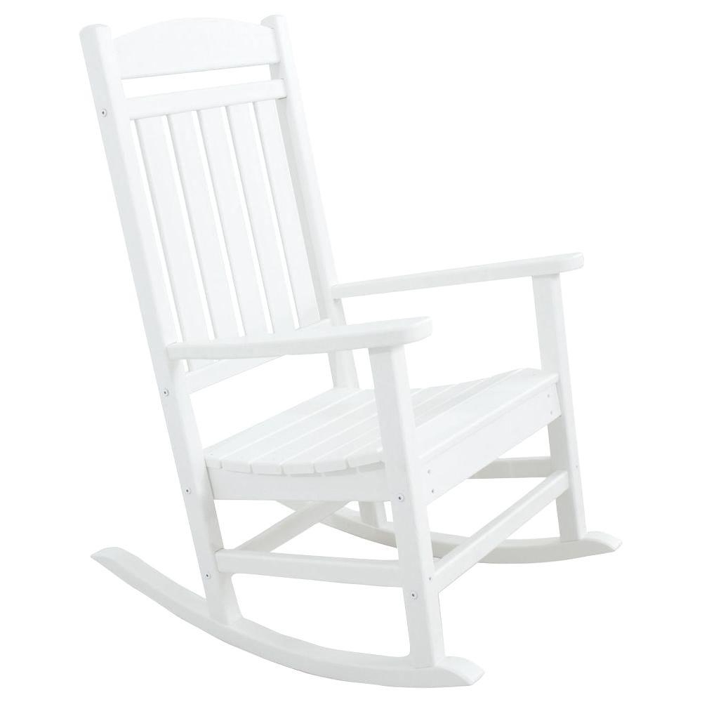 Most Recent White – Rocking Chairs – Patio Chairs – The Home Depot Within White Resin Patio Rocking Chairs (View 5 of 15)