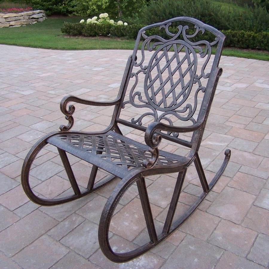 Most Recently Released Aluminum Patio Rocking Chairs With Regard To Shop Oakland Living Mississippi Aluminum Rocking Chair With Woven (View 2 of 15)