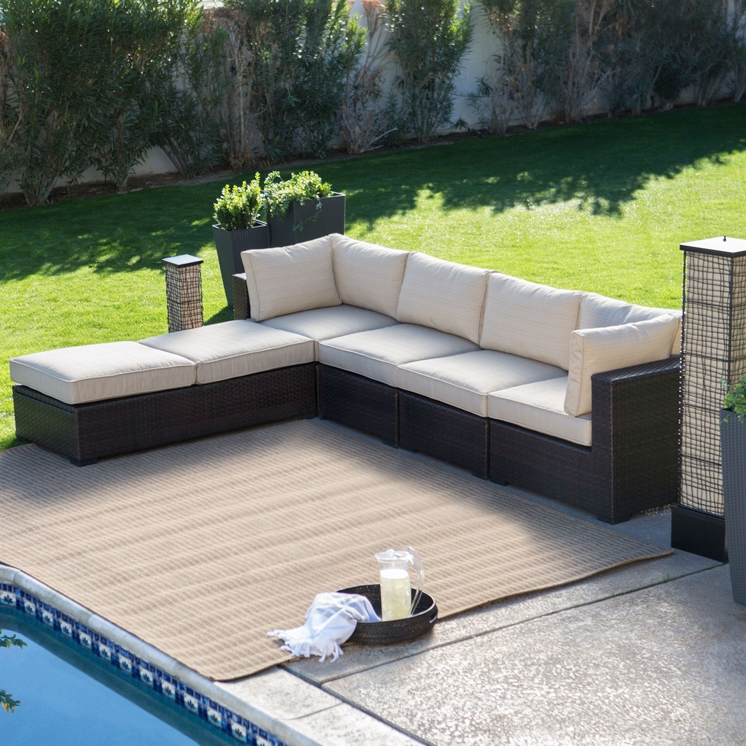 Most Recently Released Chair : Outdoor Wicker Resin Piece Sectional Sofa Patio Furniture For Patio Sectional Conversation Sets (View 6 of 15)