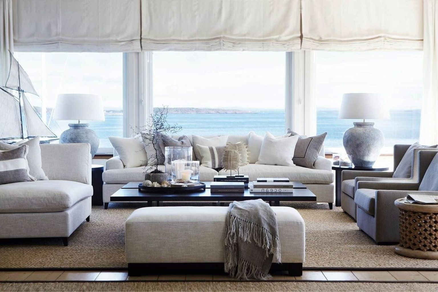 Most Recently Released Coastal Living Room Table Lamps Regarding Living Room : Coastal Decor White Fabric Sofa Gray Fabric Armchair (View 8 of 15)