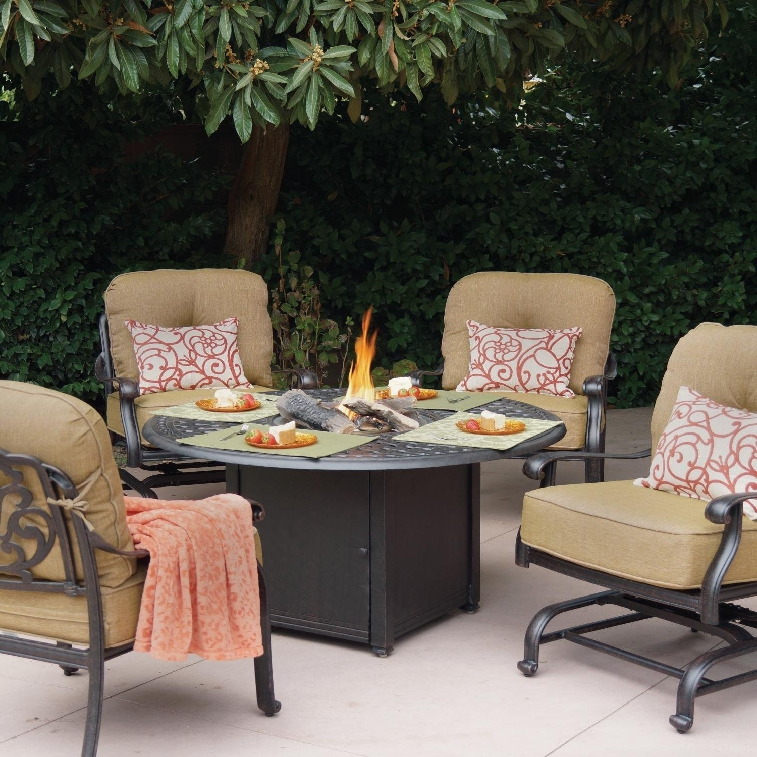 Most Recently Released Elisabeth 4 Person Cast Aluminum Patio Conversation Set With Fire In Cast Aluminum Patio Conversation Sets (View 9 of 15)