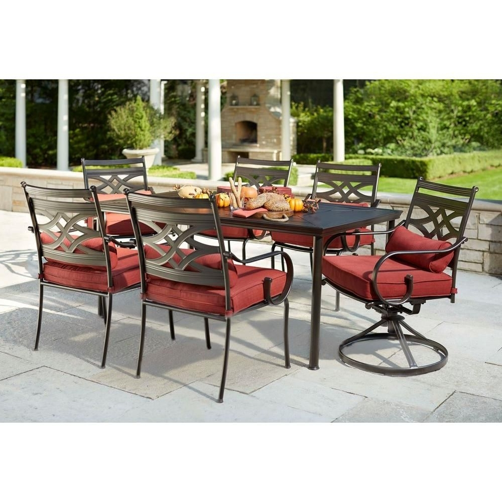 Most Recently Released Hampton Bay Middletown 7 Piece Patio Dining Set With Dragonfruit Regarding Hampton Bay Patio Conversation Sets (View 4 of 15)