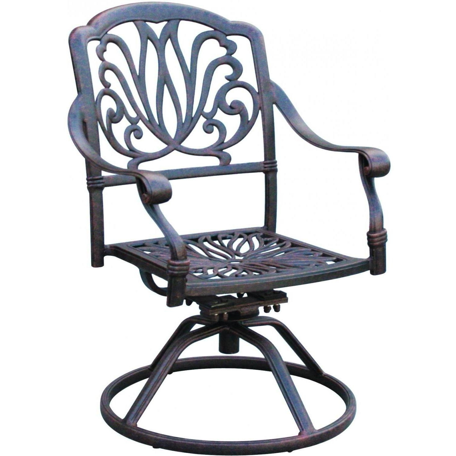 Most Recently Released Iron Rocking Patio Chairs Inside Darlee Elisabeth Cast Aluminum Patio Swivel Rocker Dining Chair (View 9 of 15)