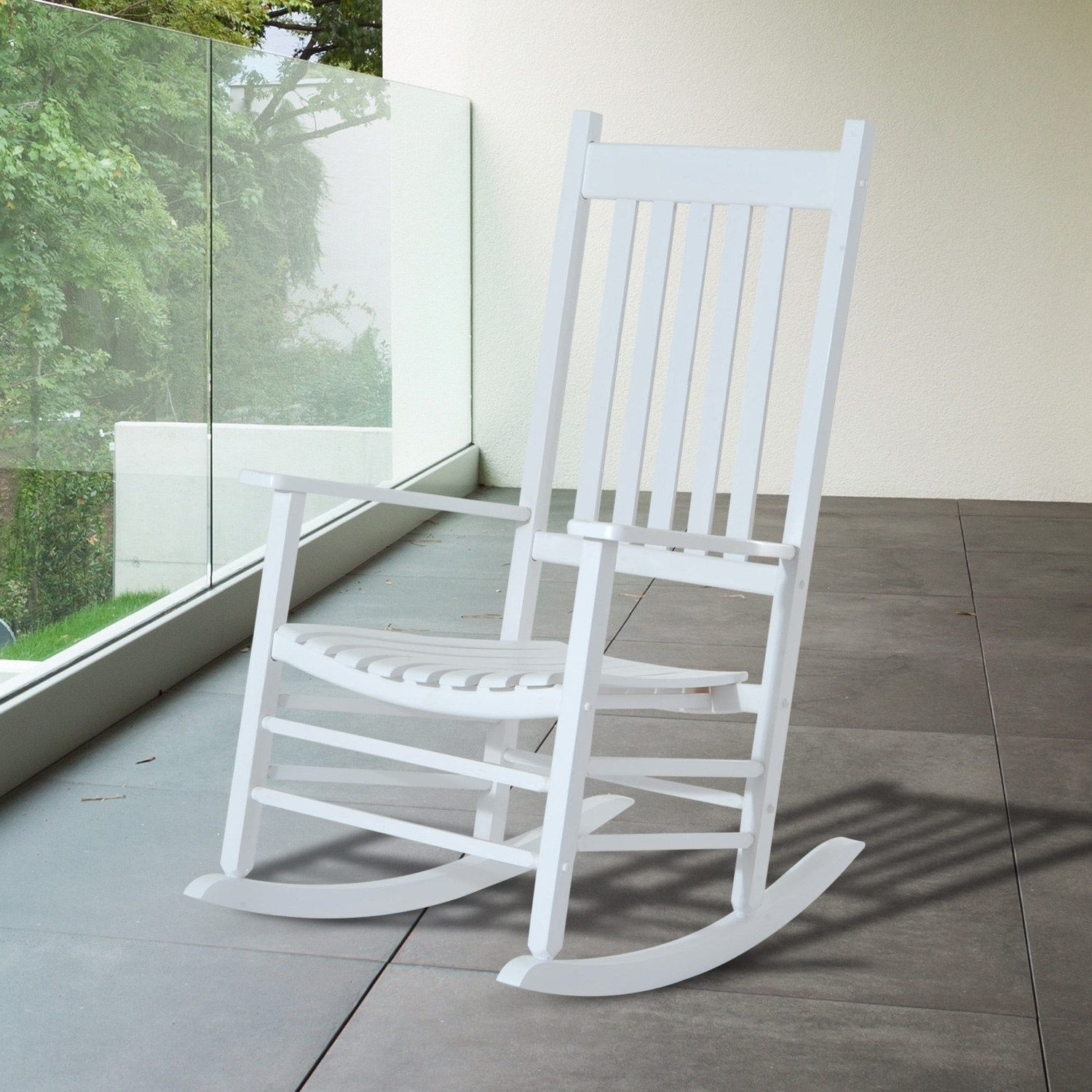 Most Recently Released Outsunny Porch Rocking Chair Outdoor Patio Wooden Rocker White (View 13 of 15)