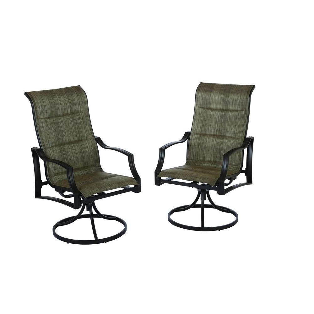 Most Recently Released Padded Patio Rocking Chairs For Hampton Bay Statesville Padded Sling Swivel Patio Dining Chair ( (View 9 of 15)