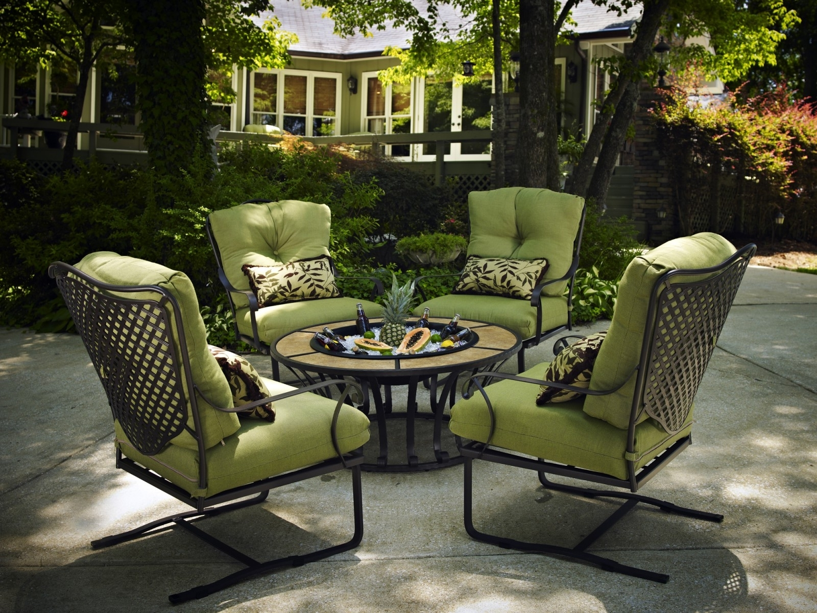 Most Recently Released Patio Conversation Sets With Cushions With Regard To Patio : Wrought Iron Patio Furnitureca Furniture Value Plantation (View 8 of 15)