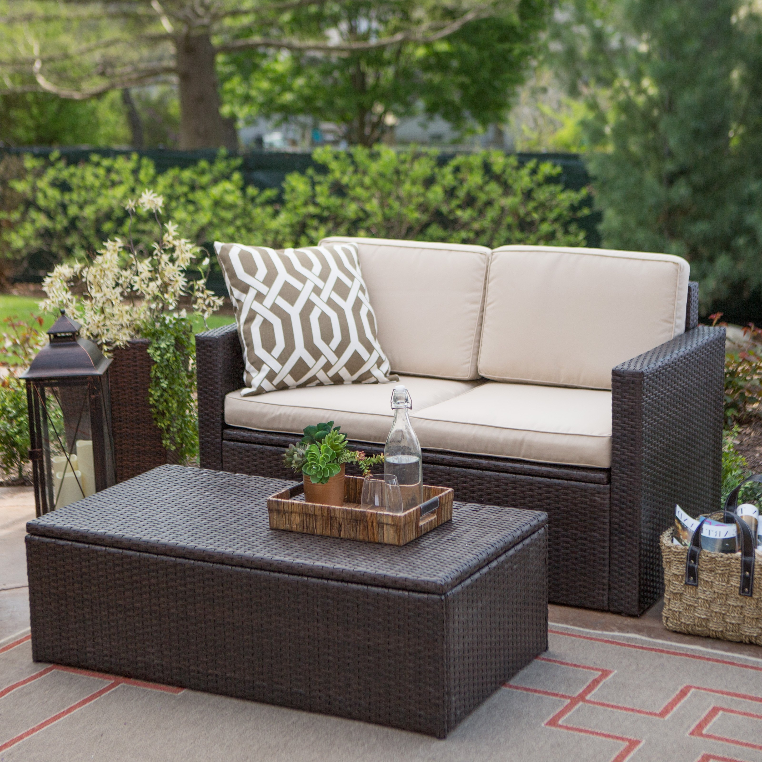 Most Recently Released Patio Conversation Sets With Storage With Coral Coast Berea Wicker 2 Piece Storage Conversation Set (View 7 of 15)
