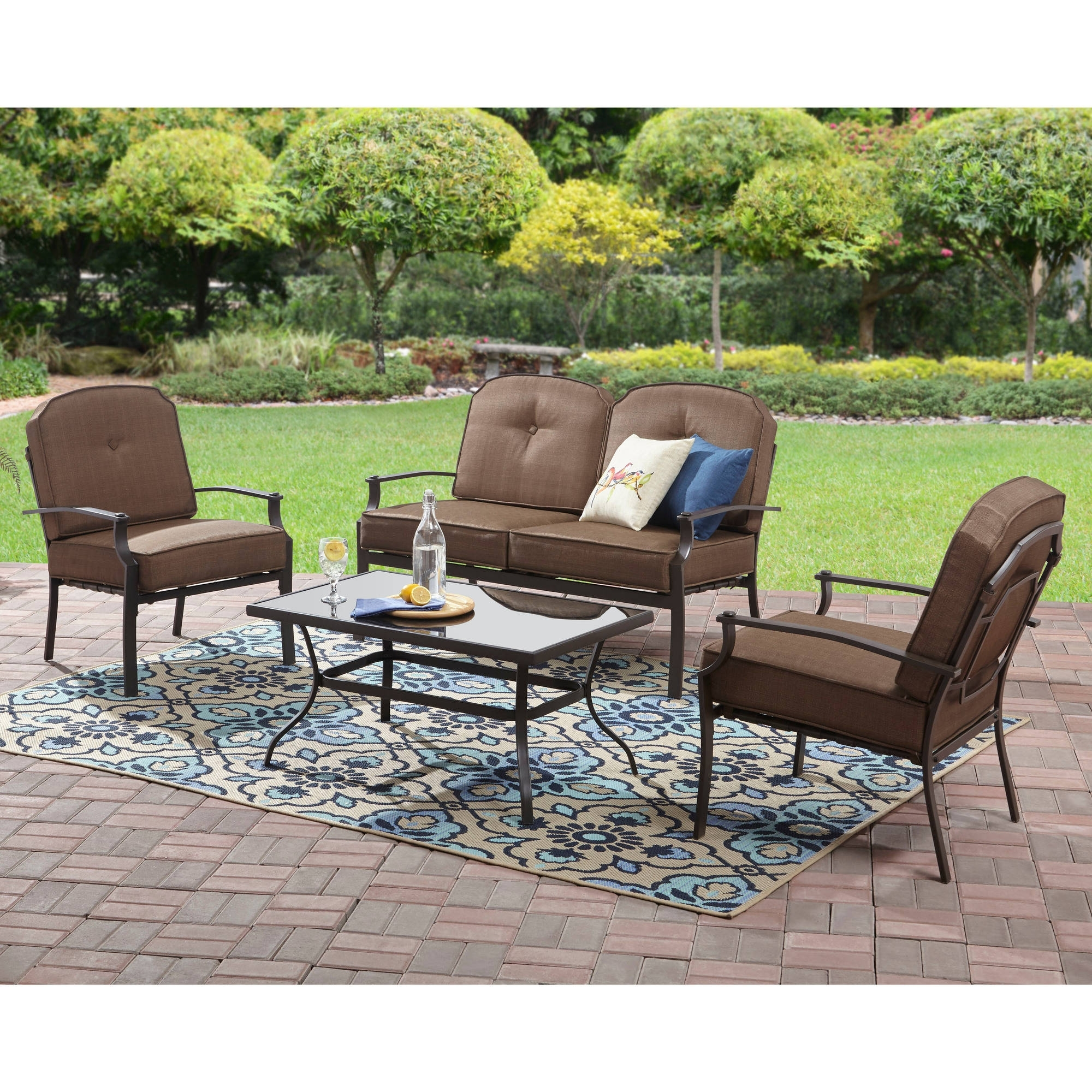 Most Recently Released Patio Conversation Sets Within Mainstays Spring Creek 5 Piece Patio Dining Set, Seats 4 – Walmart (View 10 of 15)