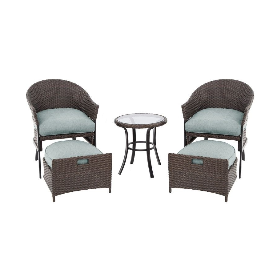 Most Recently Released Shop Garden Treasures 5 Piece South Point Brown Steel Patio Inside Steel Patio Conversation Sets (View 12 of 15)