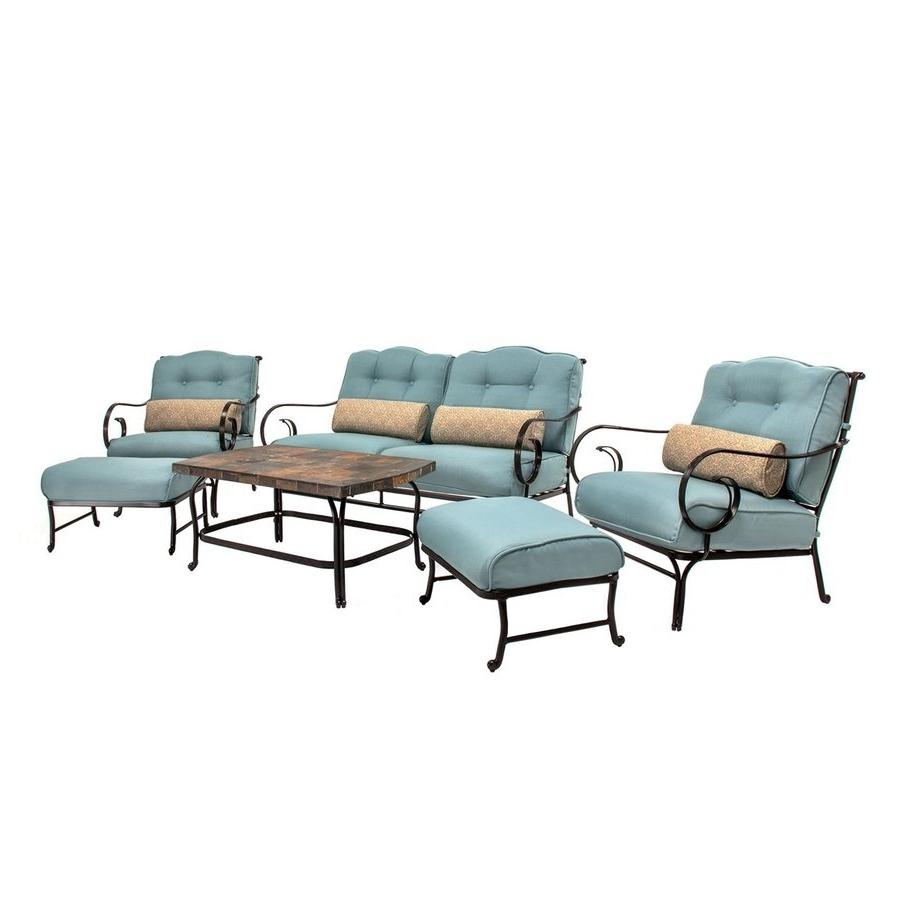 Most Recently Released Shop Hanover Outdoor Furniture Oceana 6 Piece Steel Frame Patio Regarding Steel Patio Conversation Sets (View 3 of 15)